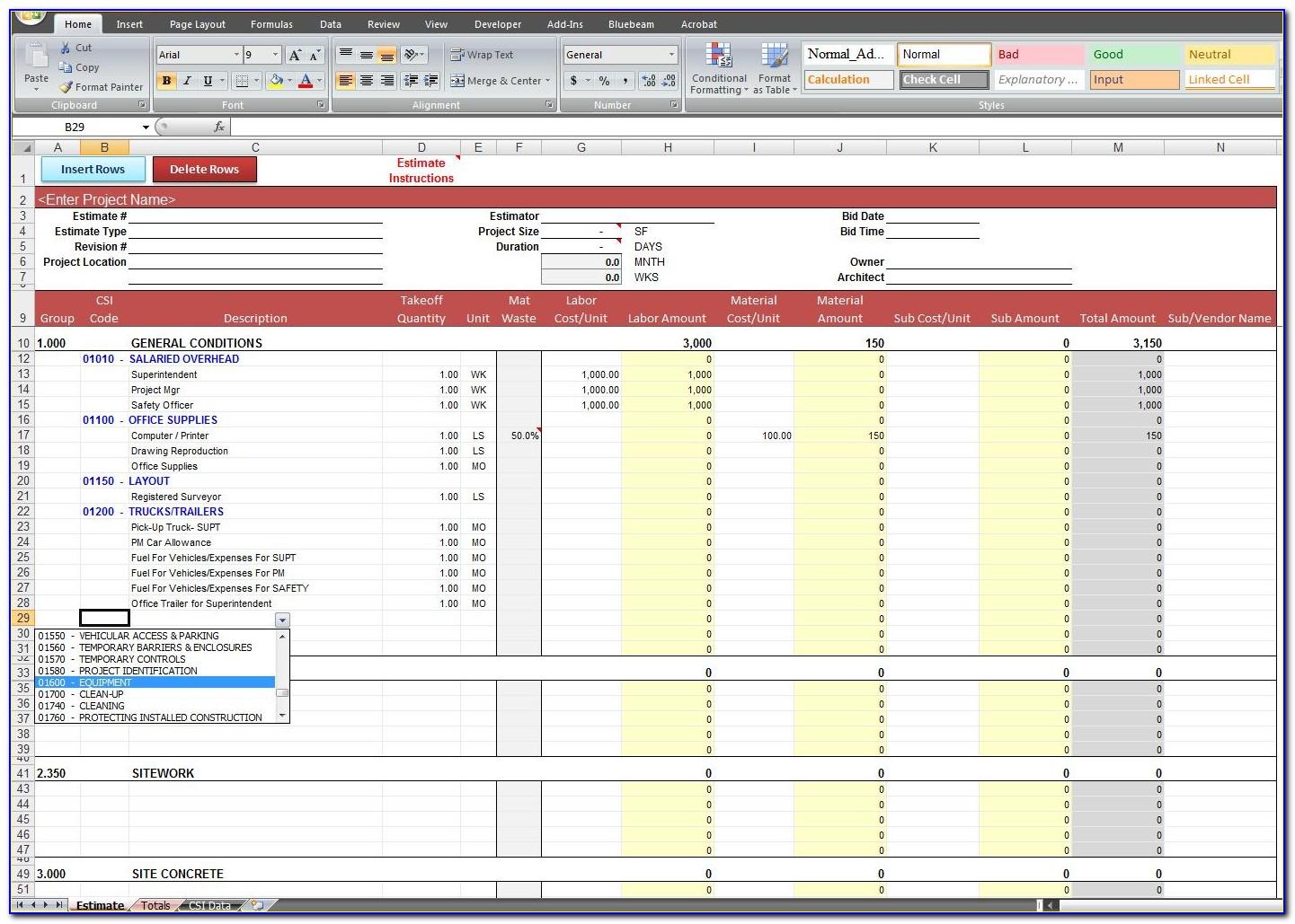Excel Construction Estimate Template Download
