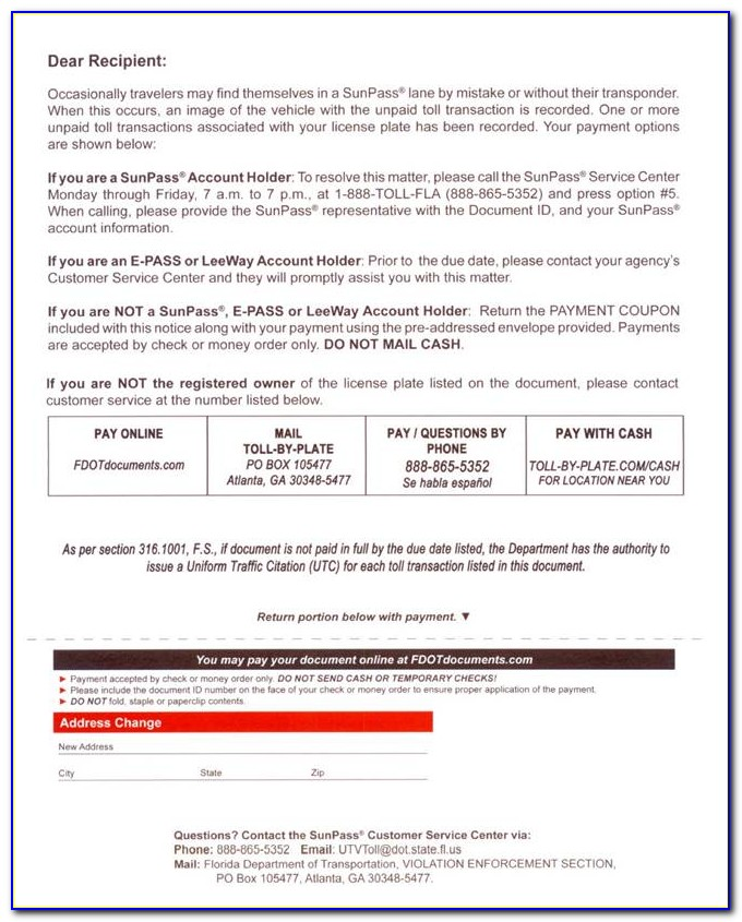 Fdot Toll Enforcement Invoice Contact