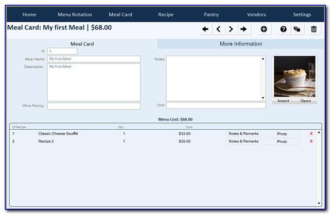 Filemaker Pro Recipe Database Template
