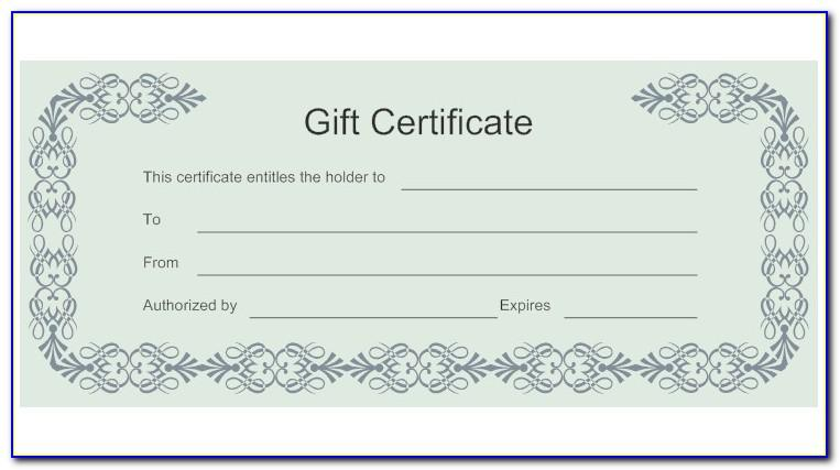 Fill In Gift Certificate Template