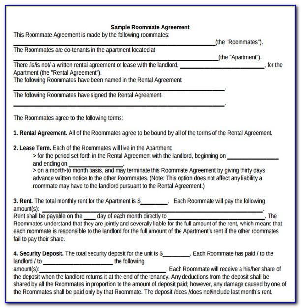 Flatmates Agreement Template