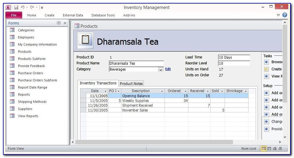 Free Access 2007 Inventory Database Template