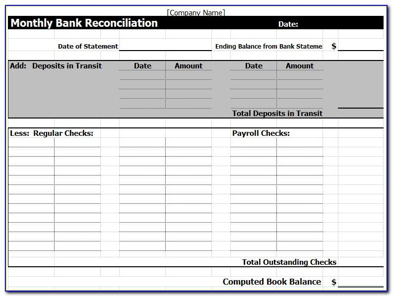 Free Account Reconciliation Template Excel