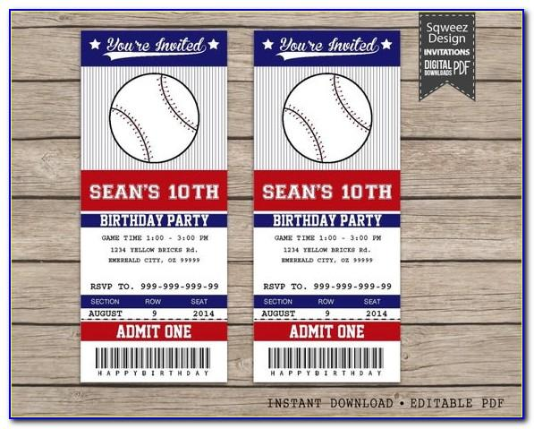Free Baseball Raffle Ticket Template