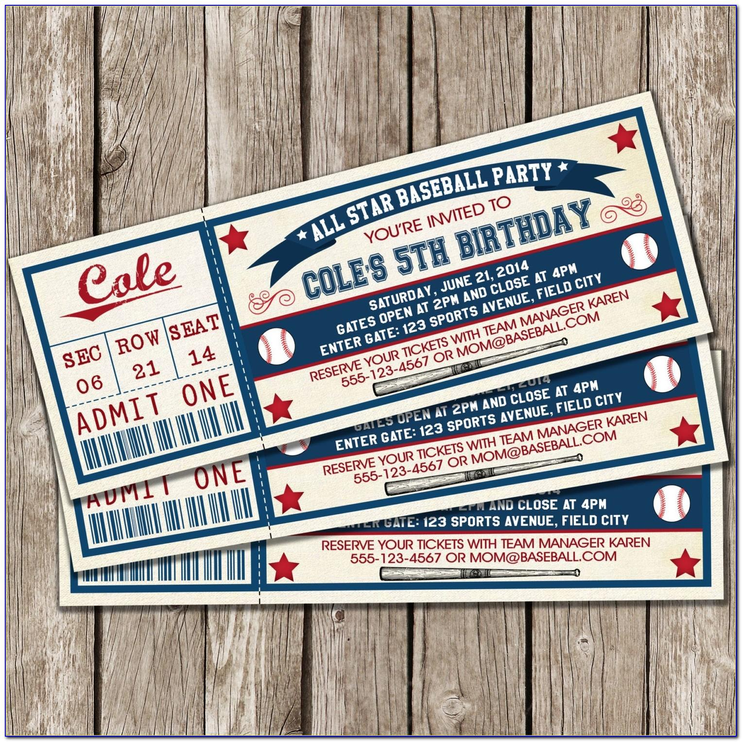 Free Baseball Ticket Printable