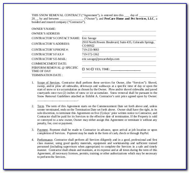 Free Blank Snow Removal Contract Template