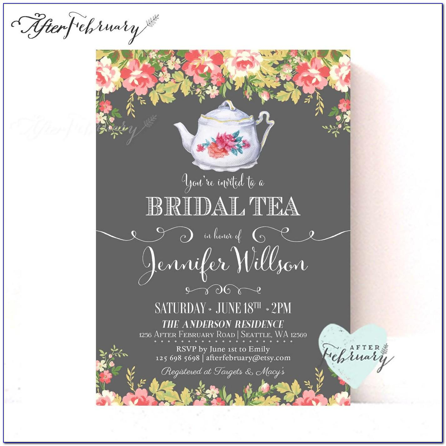 Free Bridal Shower Tea Party Invitation Templates