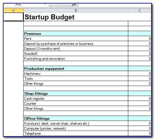 Free Business Startup Spreadsheet Template