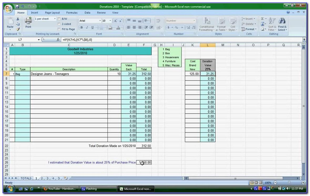 Free Church Tithing Excel Template