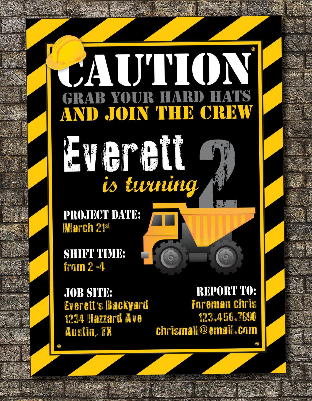 Free Construction Birthday Invitation Templates