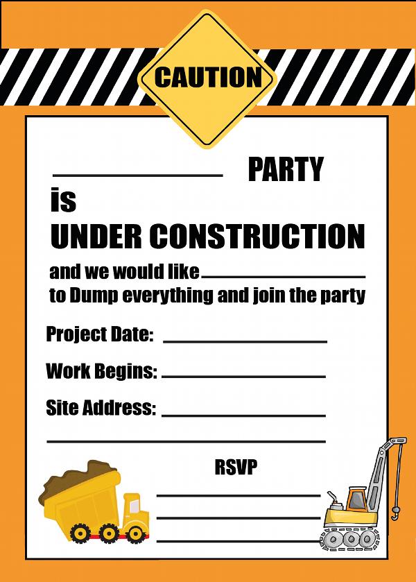 Free Construction Birthday Party Invitation Templates