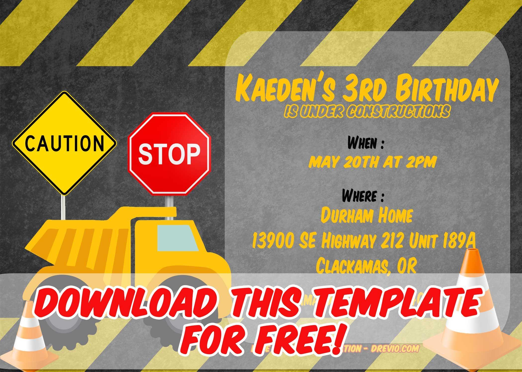 Free Construction Party Invitation Templates