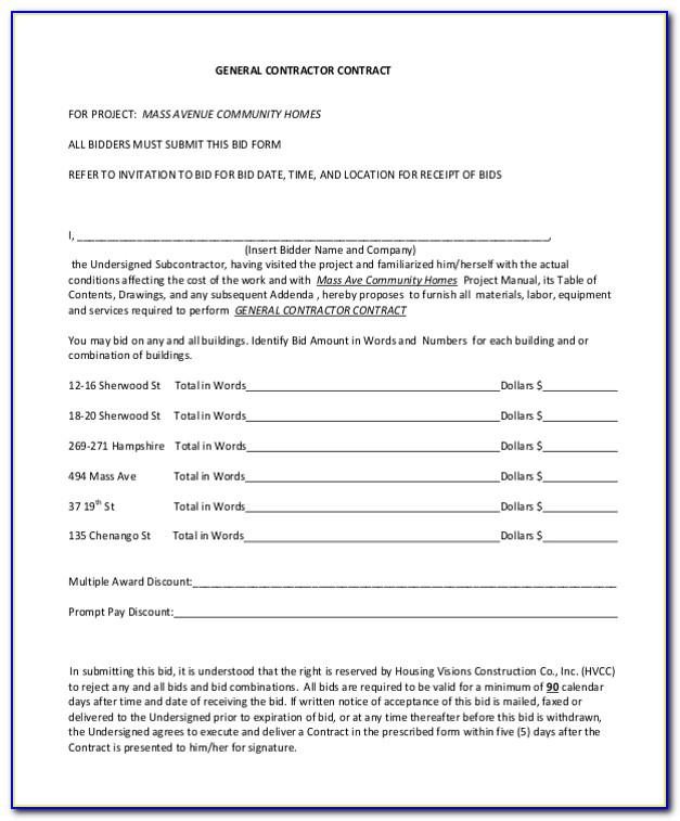 Free Contract Forms For Contractors