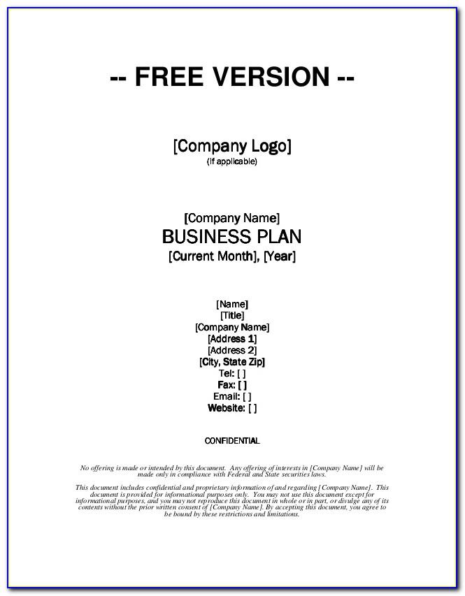 Free Download Business Plan Template Doc
