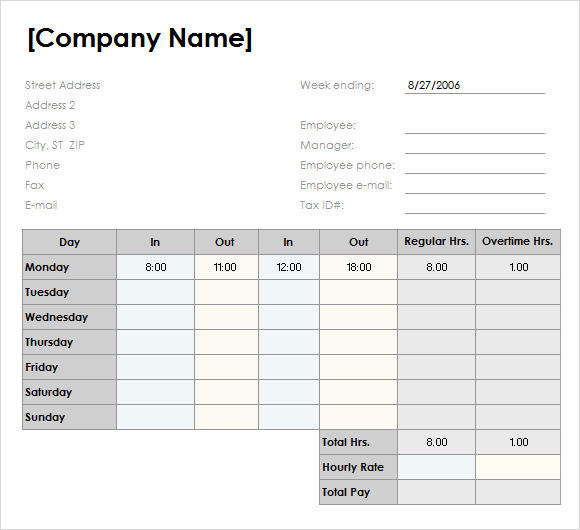 Free Download Weekly Timesheet Template