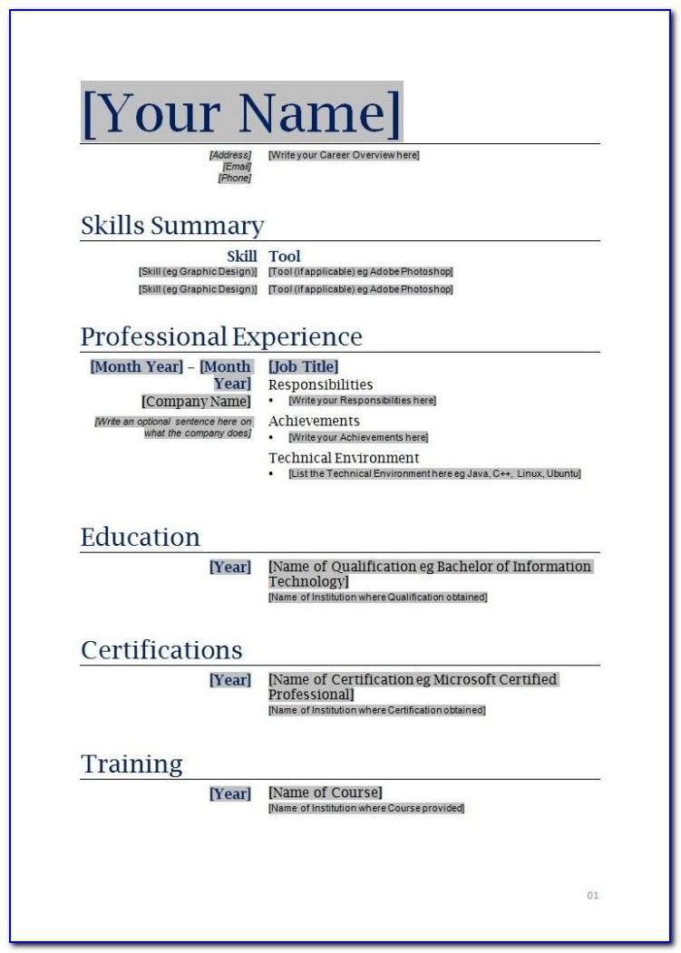 Free Downloadable Job Resume Templates