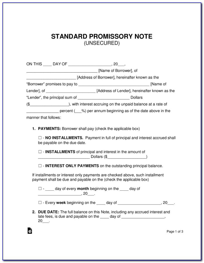 Free Downloadable Promissory Note Form