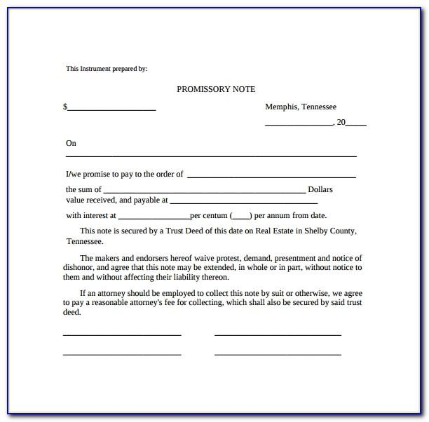 Free Downloadable Promissory Note Template