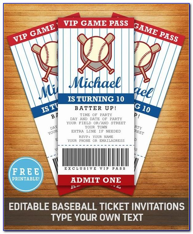 Free Editable Baseball Ticket Template