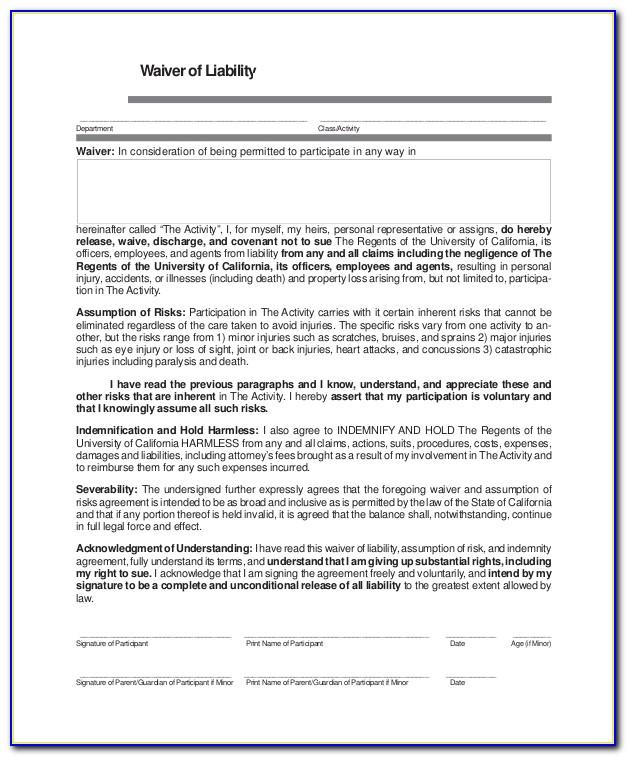 Free Generic Liability Waiver Form