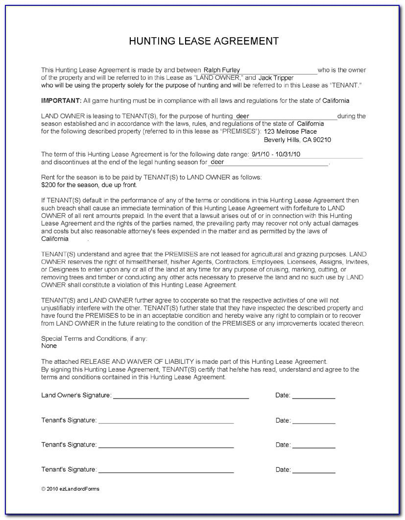 Free Hunting Lease Agreement Form