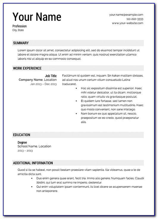 Free Job Resume Template Downloads