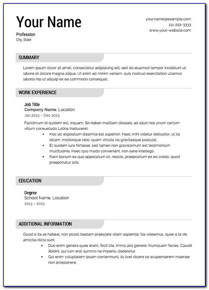 Free Job Resume Template For Microsoft Word