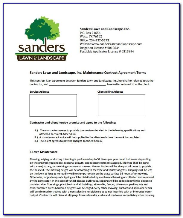Free Lawn Care Contract Forms