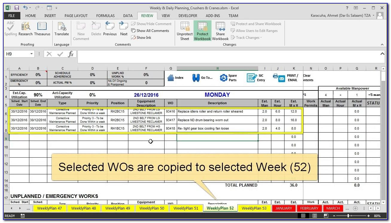 Free Maintenance Planning And Scheduling Templates Excel