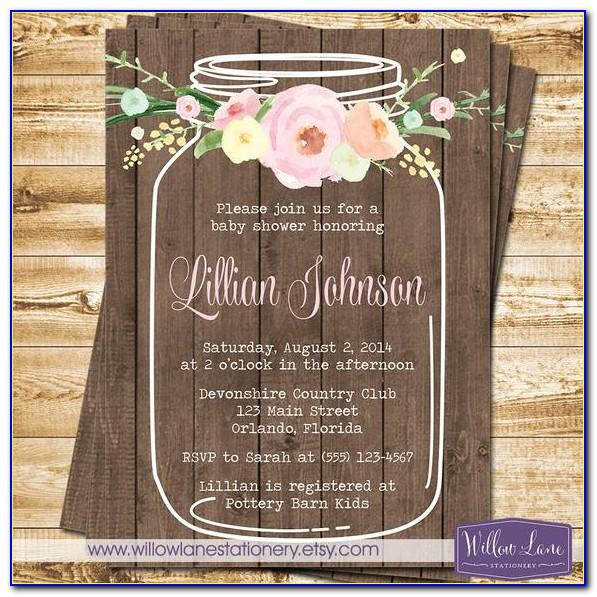 Free Mason Jar Baby Shower Invitation Template