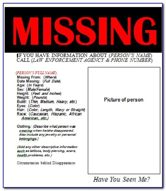 Free Missing Person Flyer Template