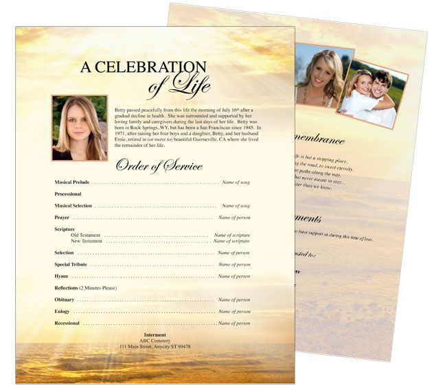 Free One Page Funeral Program Template