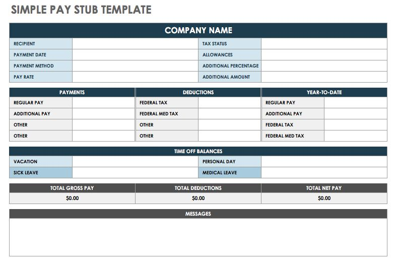 Free Online Pay Stubs Templates