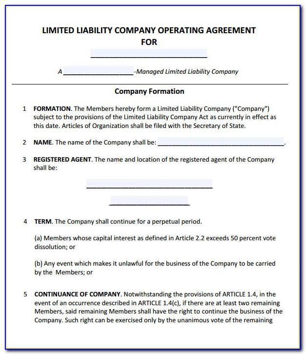 Free Operating Agreement Template For Single Member Llc