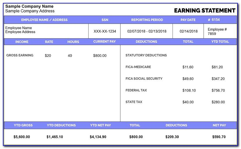 Free Pay Stub Generator Template