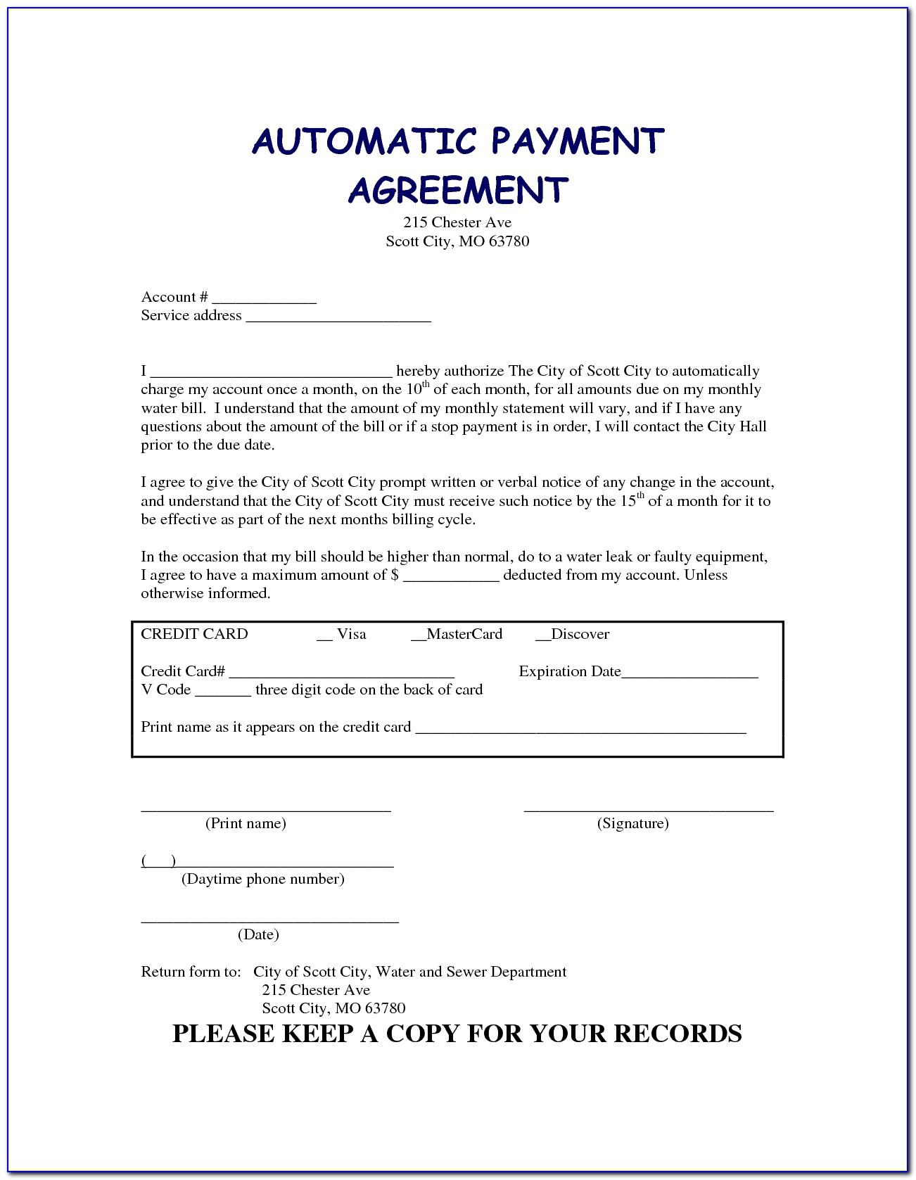 Free Payment Agreement Template Pdf