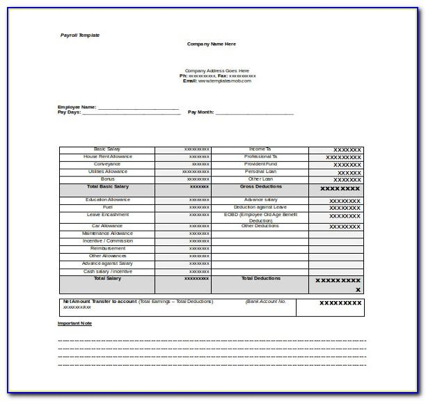 Free Payroll Template Word