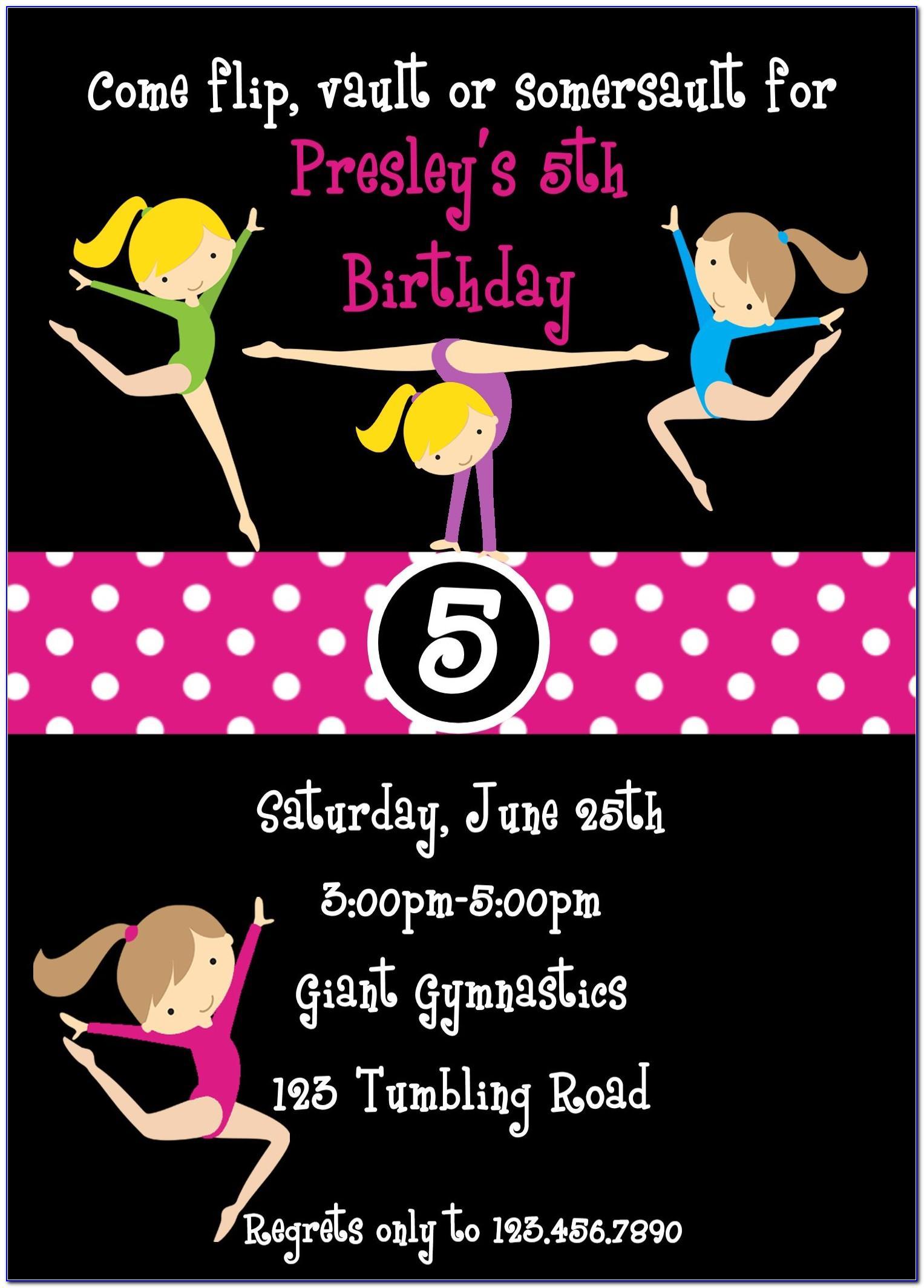 Free Printable Birthday Invitation Templates Gymnastics