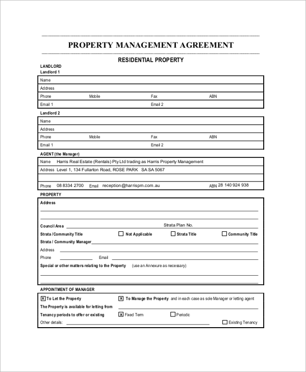 Free Property Management Forms Templates Uk