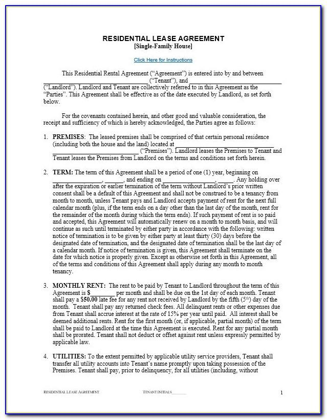 Free Renters Lease Agreement Template
