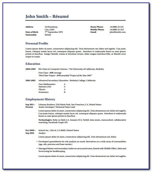 Free Resume Templates 2018 Pdf