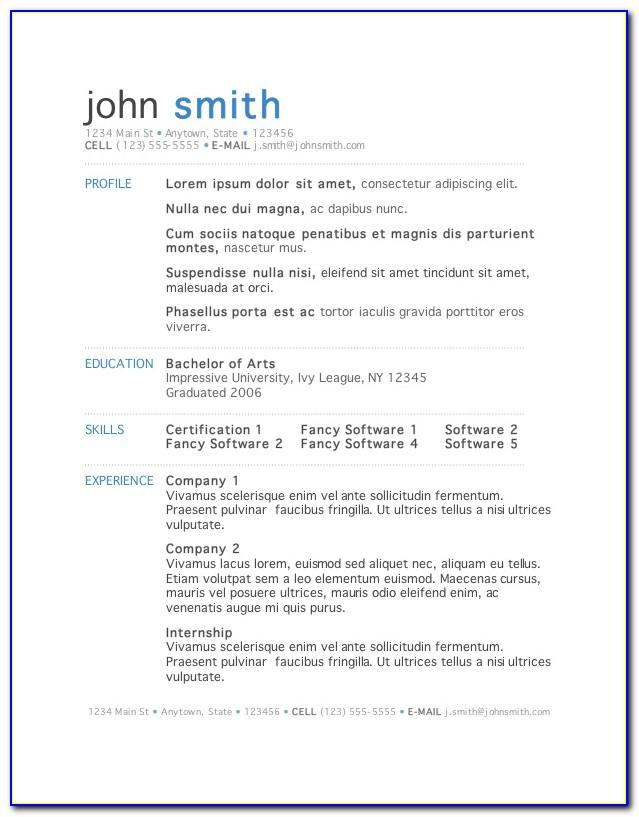 Free Resume Templates For Ms Word