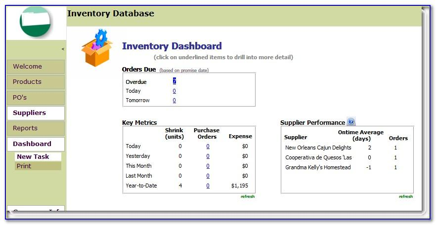 Free Sales Inventory Access Database Template