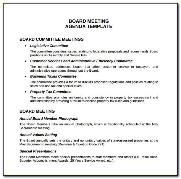 Free Sample Board Meeting Agenda Template