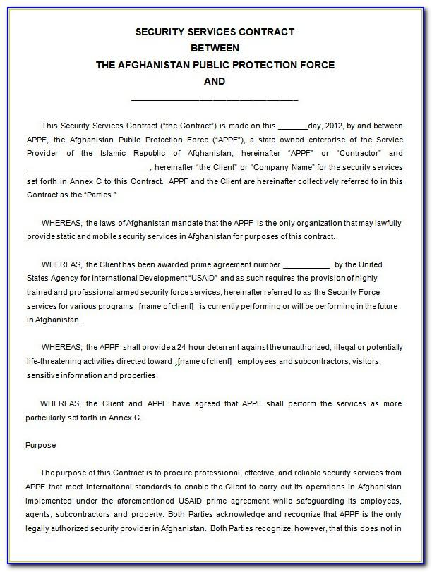 Free Security Guard Contract Template