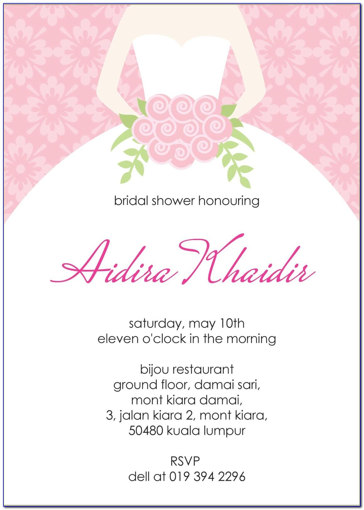Free Template For Bridal Shower Invitation