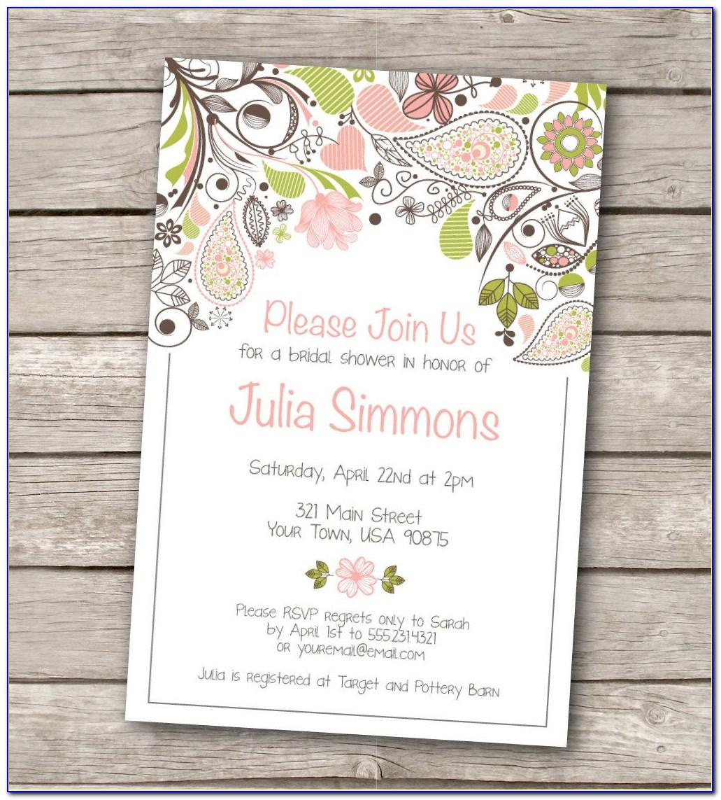 Free Template For Bridal Shower Invitations
