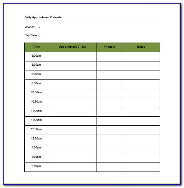 Free Weekly Appointment Planner Template