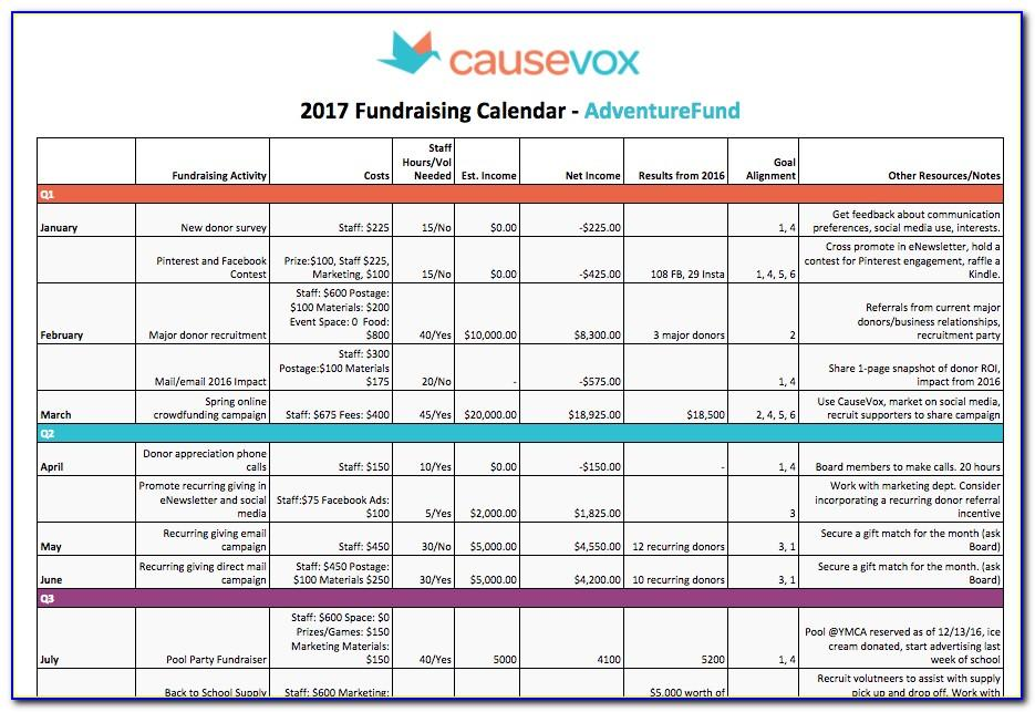 Fundraising Calendar Template Free