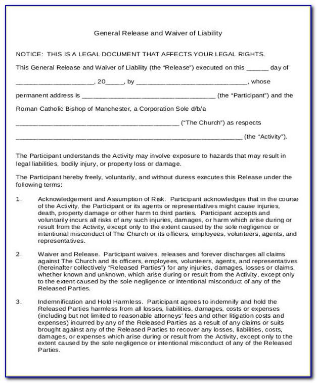 Generic Liability Waiver Form